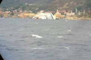 Costa Concordia in Giglio,  the Mediterranean.
